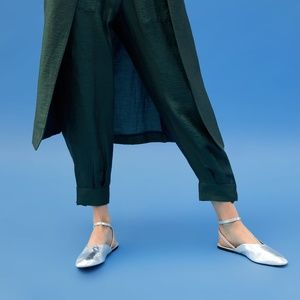 NWT Zara Metallic Leather Slingback Ankle Strap